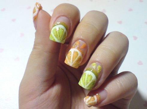 Фруктовый дизайн ногтей апельсинчики