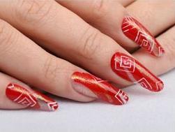 Спиральные прямоугольники - дизайн ногтей иголкой
