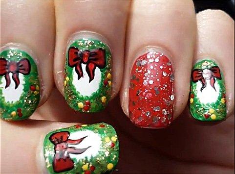 Дизайн ногтей рождественский венок