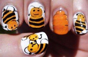 Маникюр желтая пчела Nail Art