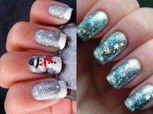 Дизайн ногтей красными блестками