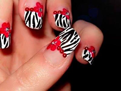 Как сделать маникюр зебра?