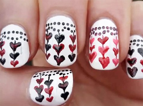 Маникюр ко дню Святого Валентина - видеоуроки рисования сердец