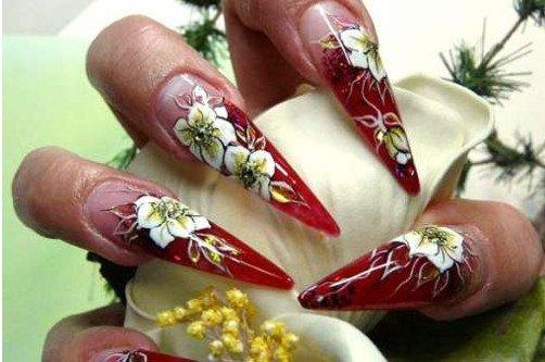 цветы на острых ногтях фото