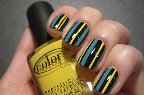 дизайн ногтей с полосками фото