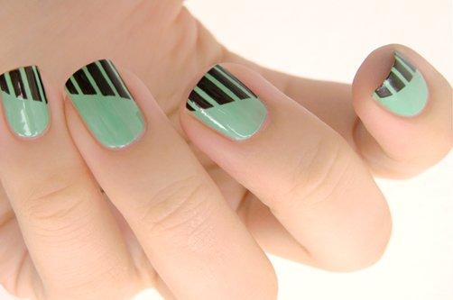 дизайн ногтей полосатый фото