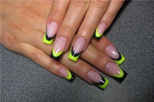 черно-желтый френч гелевые ногти фото