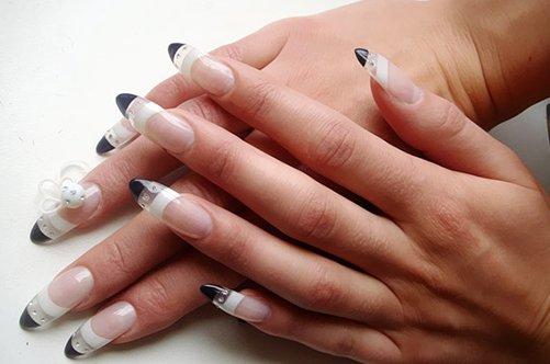 гелевые ногти черно-белый френч фото