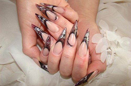 гелевые острые ногти черный френч фото