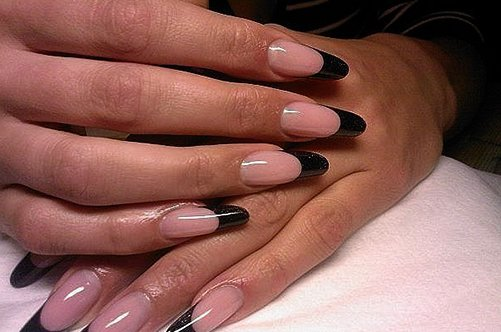гелевые ногти черный френч фото