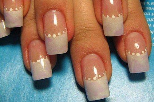 гелевые ногти френч со стразами фото