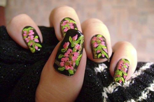 маникюр на натуральных ногтях хохлома фото