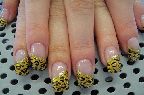 леопардовый френч на натуральных ногтях фото