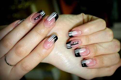 адидас черно-белый дизайн ногтей фото