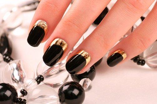 дизайн ногтей черный с золото фото