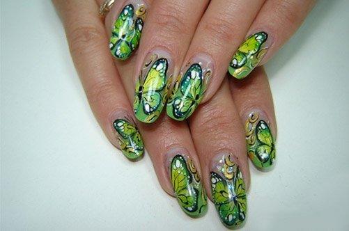 Дизайн ногтей: френч с бабочками