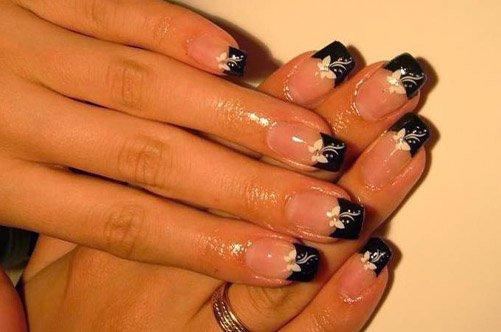 дизайн ногтей черный френч с бабочками фото