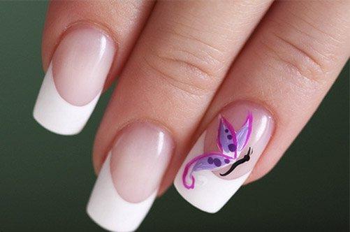 дизайн ногтей френч с бабочками фото
