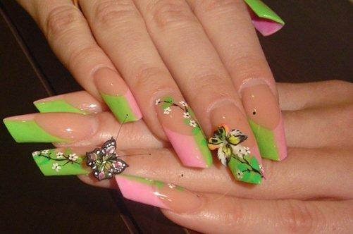 розово-зеленый френч с бабочками фото