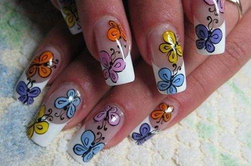 френч с бабочками дизайн ногтей фото