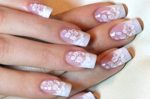 дизайн ногтей френч цветы фото