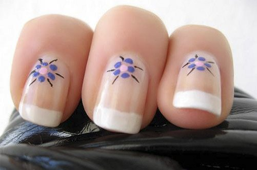 цветы френч дизайн ногтей фото