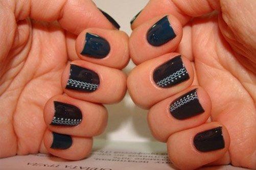 дизайн ногтей френч кружево фото