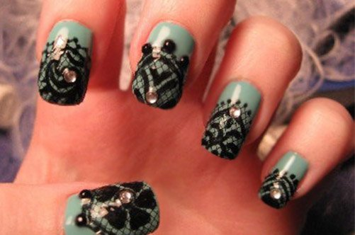 дизайн ногтей черное кружево фото