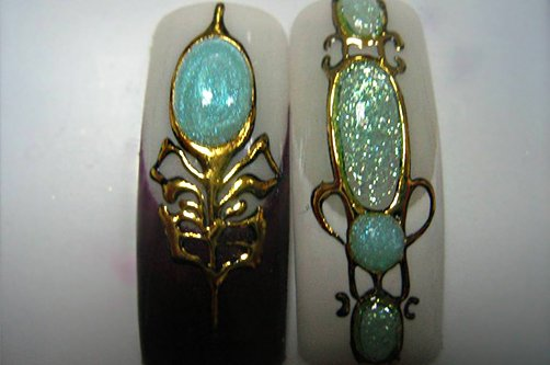 дизайн ногтей с жидкими камнями фото