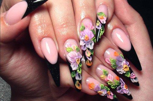 аквариумный дизайн острых ногтей фото
