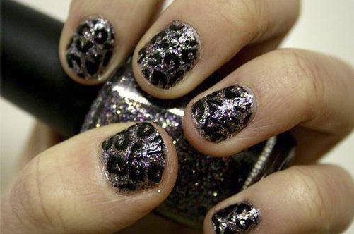 леопардовый черный дизайн квадратных ногтей фото