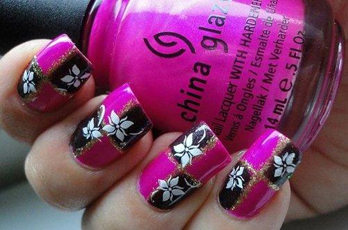 черно-розовый дизайн квадратных ногтей фото