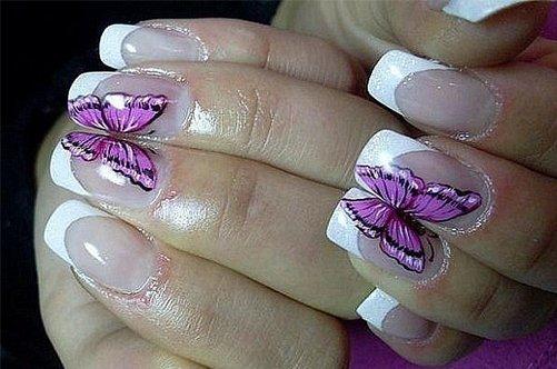 фиолетовые бабочки дизайн ногтей фото