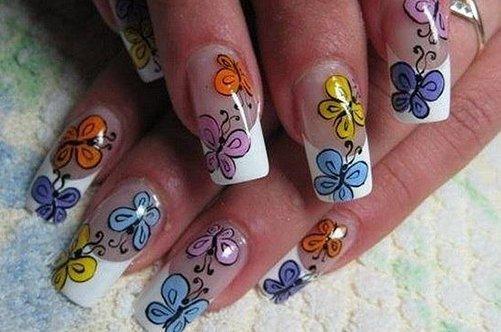дизацн ногтей с бабочками фото