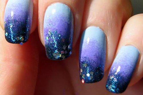 дизайн ногтей губкой с блестками фото