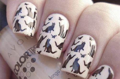 дизайн ногтей с кошками фото