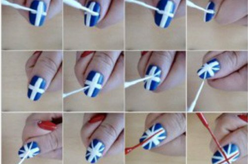 схема флаги на ногтях фото