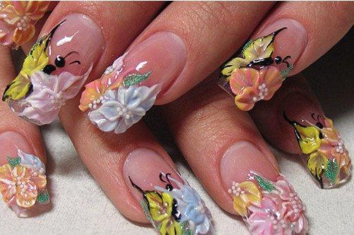 креативный дизайн ногтей с цветами фото