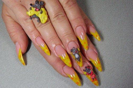 креативный дизайн сырные ногти фото