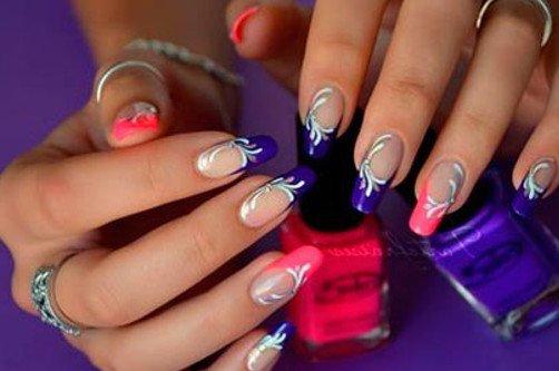 маникюр шеллак синий с розовым фото