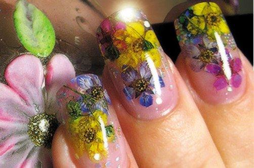 Дизайн ногтей с сухоцветами фото