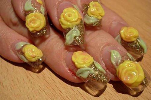 объемный узор на ногтях фото