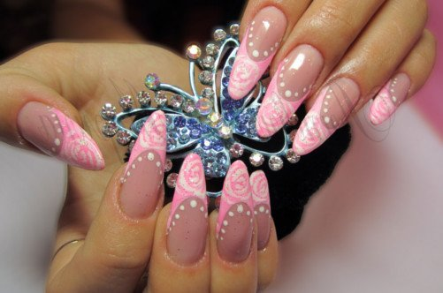 розовый дизайн ногтей аквариум фото