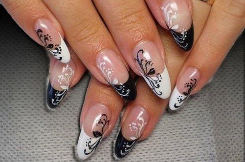 дизайн ногтей черно-белые цветы фото