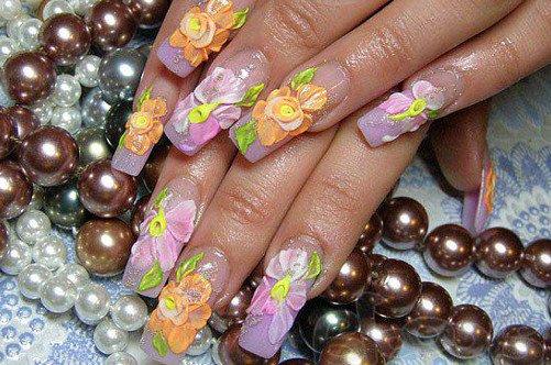 дизайн ногтей аквариум с лепкой фото