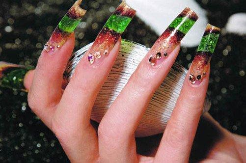 дизайн ногтей аквариум на длинных ногтях фото