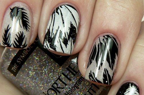 черно-белый дизайн ногтей на последний звонок фото