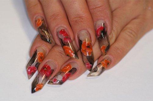необычный дизайн гелевых ногтей осень 2013 фото