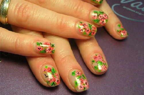 цветочный дизайн коротких ногтей осень 2013 фото