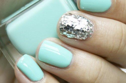 дизайн коротких ногтей осень 2013 с блестками фото